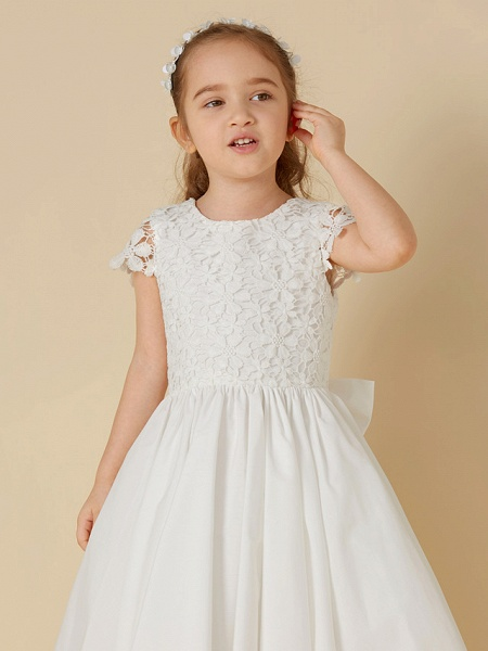 A-Line Knee Length Wedding / First Communion Flower Girl Dresses - Lace / Cotton Short Sleeve Scoop Neck With Bow(S)_4
