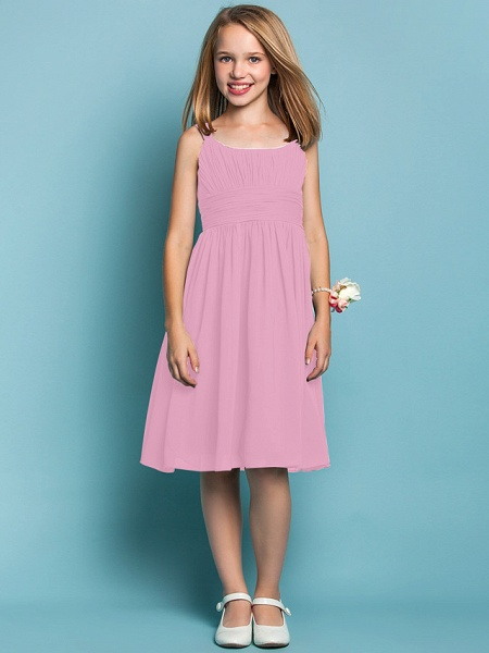 Sheath / Column Straps Knee Length Chiffon Junior Bridesmaid Dress With Ruched / Draping / Spring / Summer / Fall / Apple / Hourglass_10
