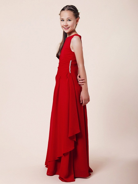 A-Line / Sheath / Column Bateau Neck Floor Length Chiffon Junior Bridesmaid Dress With Beading / Side Draping / Spring / Summer / Fall / Winter / Wedding Party_2