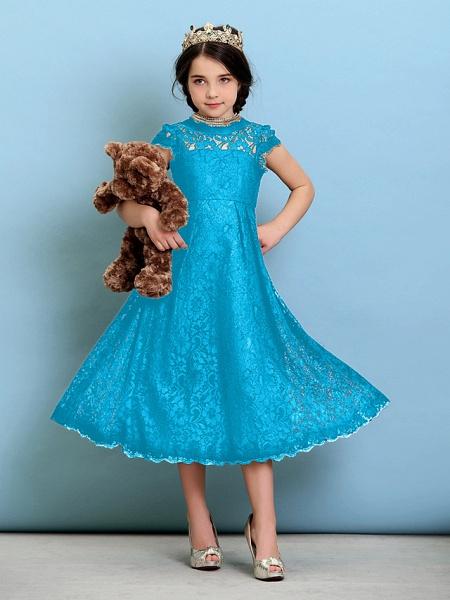 Princess / A-Line Jewel Neck Tea Length Lace Junior Bridesmaid Dress With Pleats / Natural_33