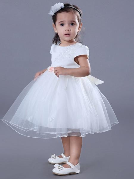 Ball Gown Medium Length Wedding / Birthday Flower Girl Dresses - Satin / Tulle Short Sleeve Jewel Neck With Beading / Embroidery / Flower_6