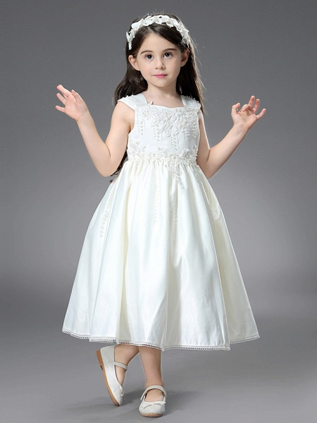 Princess / Ball Gown Ankle Length / Royal Length Train Wedding / First Communion Flower Girl Dresses - Satin Sleeveless Square Neck With Belt / Beading / Appliques_3