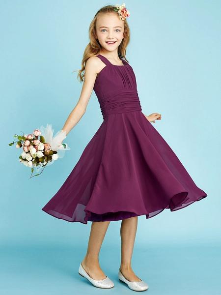 A-Line Straps Knee Length Chiffon Junior Bridesmaid Dress With Sash / Ribbon / Ruched / Draping / Natural_1
