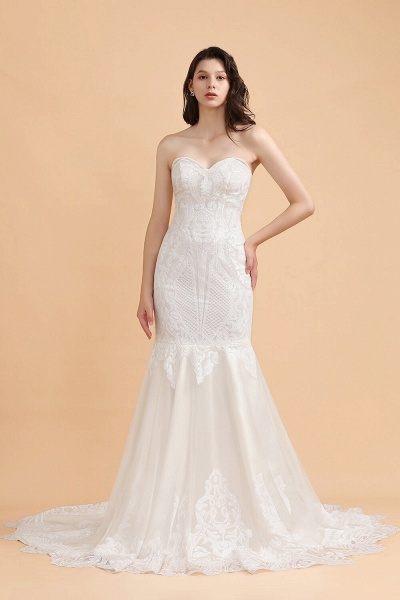 Sparkle Mermaid Sweetheart White Court Train Wedding Dress