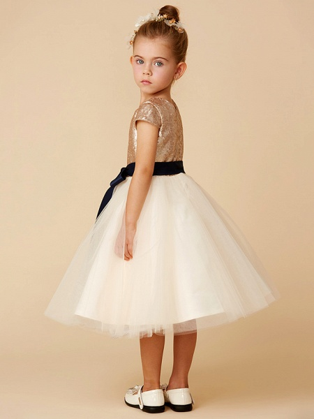 Princess Tea Length Pageant Flower Girl Dresses - Tulle / Sequined Short Sleeve Jewel Neck With Sash / Ribbon / Bow(S) / Sequin_2