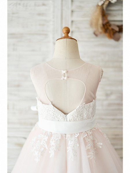 Ball Gown Knee Length Wedding / Party Flower Girl Dresses - Lace / Tulle Sleeveless Jewel Neck With Belt_4