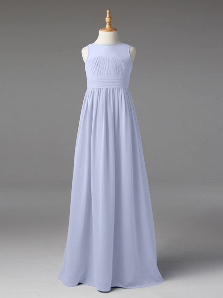 Princess / A-Line Jewel Neck Floor Length Chiffon Junior Bridesmaid Dress With Sash / Ribbon / Pleats_44