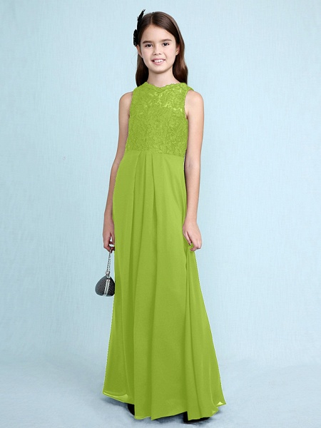 Sheath / Column Scoop Neck Floor Length Chiffon / Lace Junior Bridesmaid Dress With Lace / Natural_31