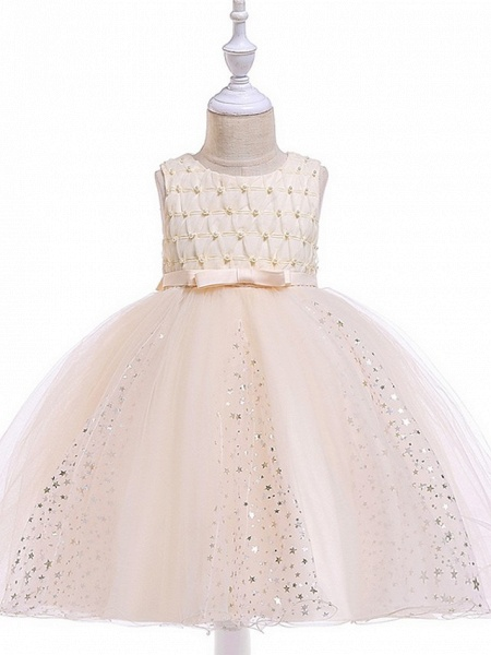 Princess / Ball Gown Knee Length Wedding / Party Flower Girl Dresses - Tulle Sleeveless Jewel Neck With Sash / Ribbon / Beading / Appliques_9