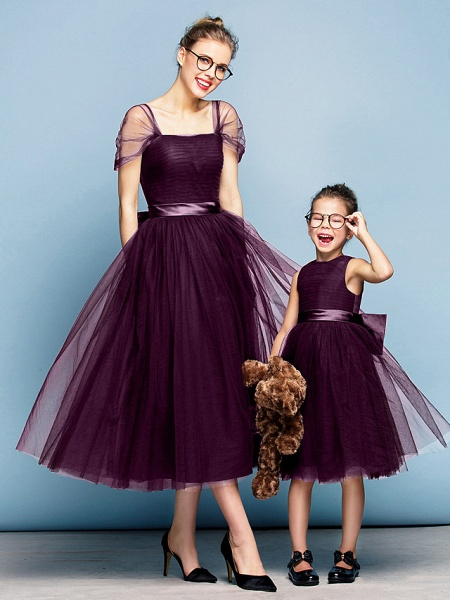 Princess Tea Length Party / Prom / Formal Evening Flower Girl Dresses - Tulle Short Sleeve Square Neck With Bow(S) / Ruched / Elegant_17