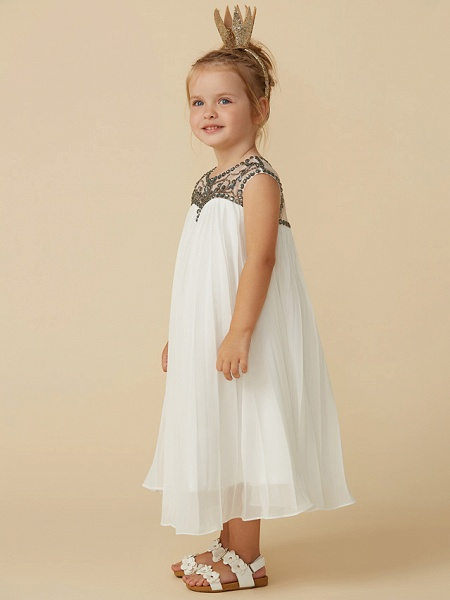 A-Line Tea Length Holiday Flower Girl Dresses - Chiffon Short Sleeve Jewel Neck With Beading_3