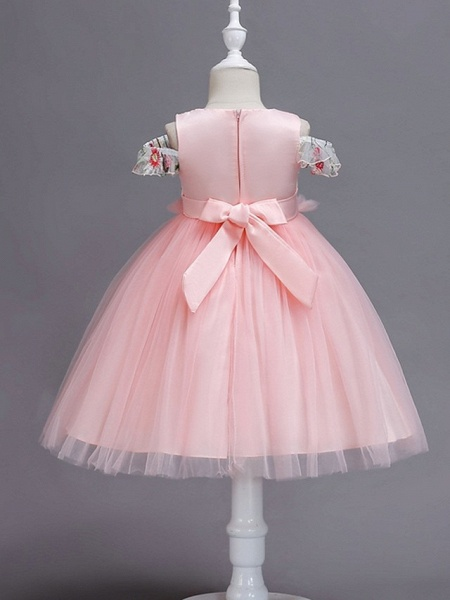 Princess / Ball Gown Knee Length Wedding / Party Flower Girl Dresses - Tulle Short Sleeve Jewel Neck With Bow(S) / Appliques_6