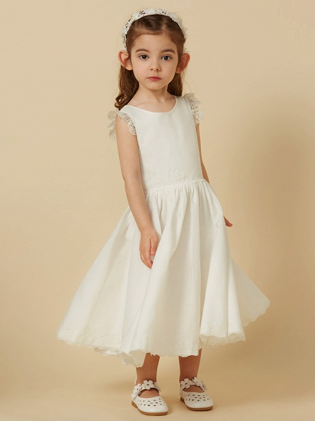 Princess Knee Length Wedding / First Communion Flower Girl Dresses - Lace / Cotton Sleeveless Scoop Neck With Pleats_3