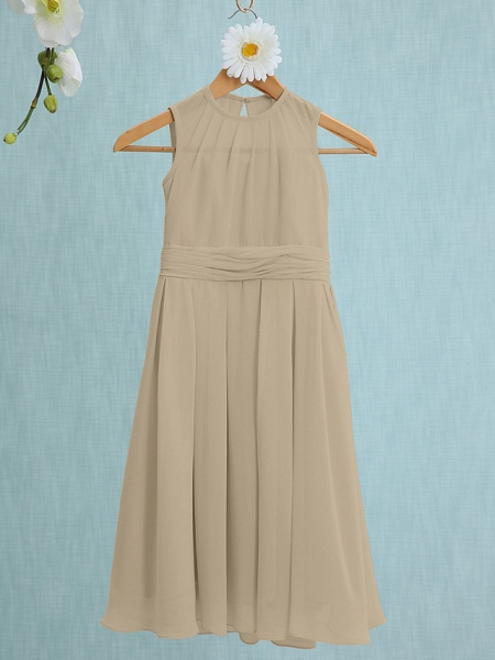 Sheath / Column Jewel Neck Knee Length Chiffon Junior Bridesmaid Dress With Ruched / Natural_19