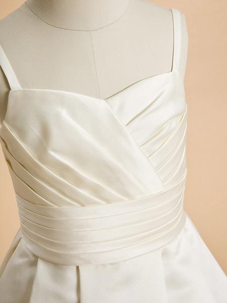 A-Line Floor Length Wedding / First Communion Flower Girl Dresses - Satin Sleeveless Spaghetti Strap With Sash / Ribbon_4