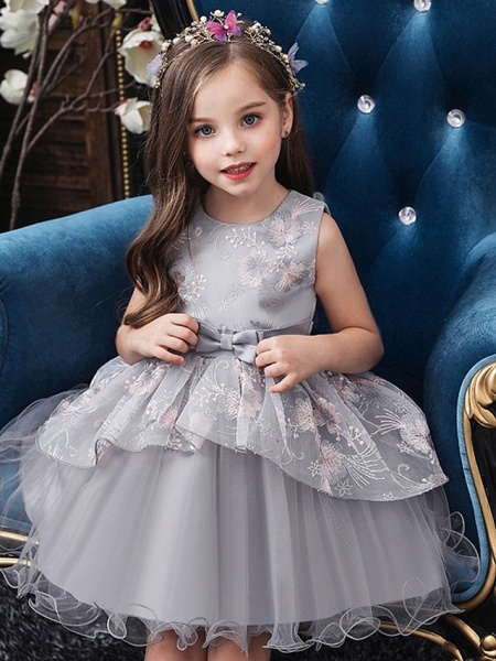 Princess / Ball Gown Knee Length Wedding / Party Flower Girl Dresses - Tulle Sleeveless Jewel Neck With Bow(S) / Tier_2