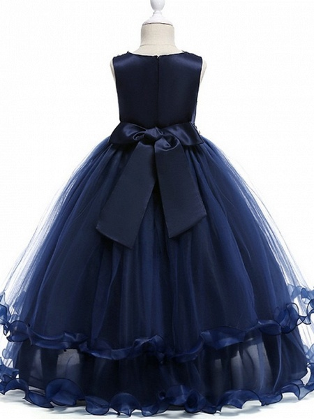 Princess Round Floor Length Cotton Junior Bridesmaid Dress With Bow(S) / Crystals / Appliques_6