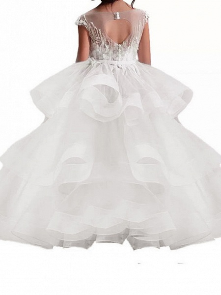 Princess Maxi Pageant Flower Girl Dresses - Polyester Sleeveless Jewel Neck With Bow(S) / Embroidery_4