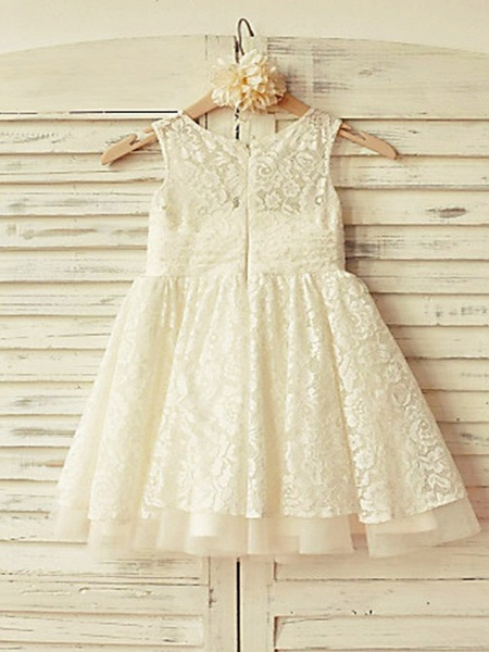 Ball Gown Short / Mini Wedding / Party Flower Girl Dresses - Lace Sleeveless Jewel Neck With Appliques / Solid_2