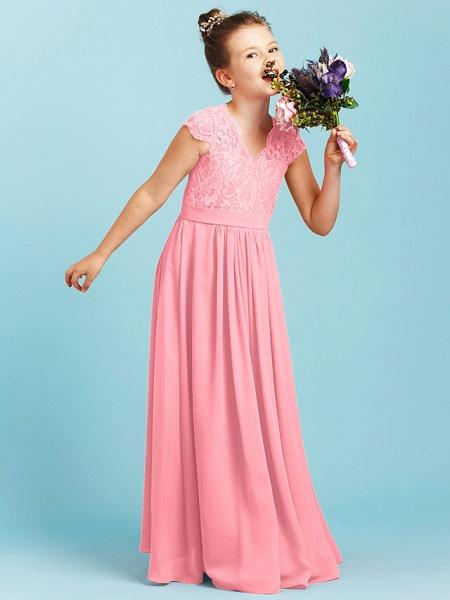 Princess / A-Line V Neck Floor Length Chiffon / Lace Junior Bridesmaid Dress With Sash / Ribbon / Pleats / Wedding Party_20