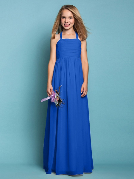 Sheath / Column Halter Neck Floor Length Chiffon Junior Bridesmaid Dress With Ruched / Spring / Summer / Fall / Apple / Hourglass_33