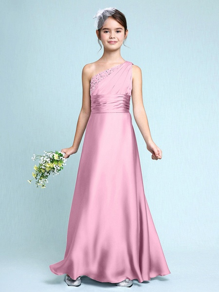 Sheath / Column One Shoulder Floor Length Chiffon Satin Junior Bridesmaid Dress With Ruched / Side Draping / Natural_12