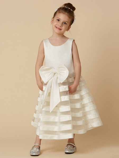A-Line Tea Length Wedding / First Communion Flower Girl Dresses - Satin / Tulle Sleeveless Jewel Neck With Bow(S)_5