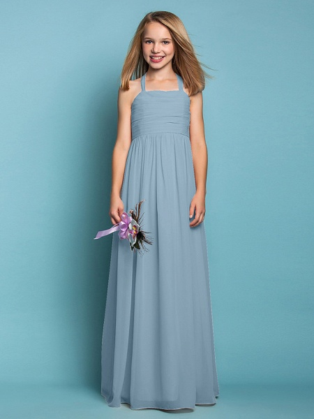 Sheath / Column Halter Neck Floor Length Chiffon Junior Bridesmaid Dress With Ruched / Spring / Summer / Fall / Apple / Hourglass_31
