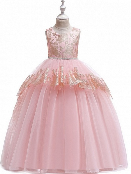 Princess Round Floor Length Cotton Junior Bridesmaid Dress With Bow(S) / Tier / Appliques_4
