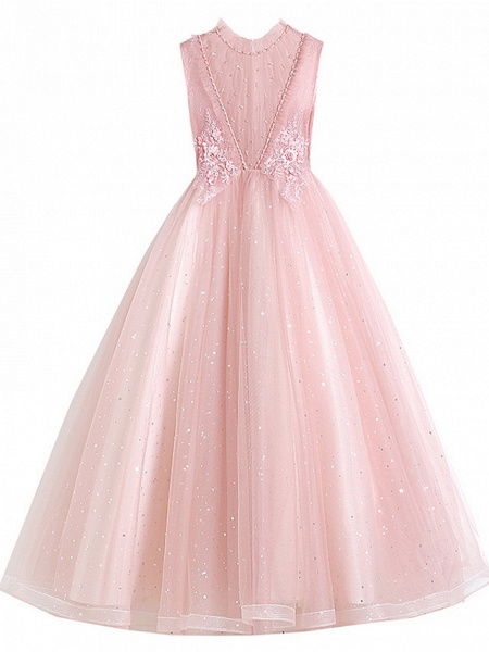 Princess / Ball Gown Floor Length Wedding / Party Flower Girl Dresses - Tulle / Polyester / Cotton Blend 3/4 Length Sleeve Jewel Neck With Appliques / Tiered_5