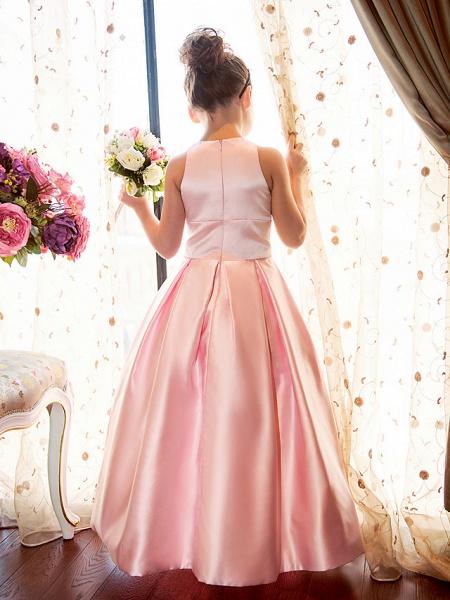 Princess / A-Line Floor Length First Communion Flower Girl Dresses - Satin Sleeveless Jewel Neck With Sash / Ribbon / Flower_6