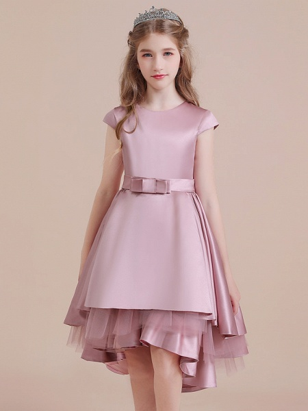 A-Line Asymmetrical Christmas / Birthday / Pageant Flower Girl Dresses - Satin / Tulle Sleeveless Jewel Neck With Side Draping_1