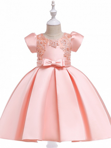A-Line Knee Length Wedding / Birthday Cotton Blend Short Sleeve Jewel Neck With Petal / Sash / Ribbon / Pearls_4