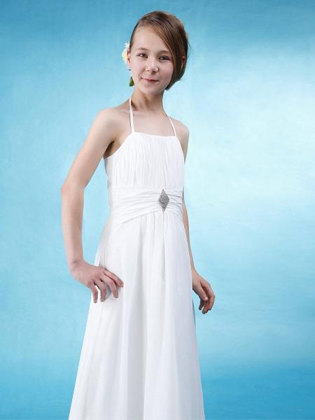 Princess / A-Line Halter Neck Floor Length Chiffon / Satin Junior Bridesmaid Dress With Sash / Ribbon / Ruched / Draping / Spring / Summer / Fall / Wedding Party / Natural_3