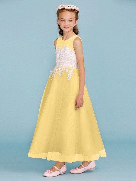 Princess / A-Line Jewel Neck Ankle Length Lace / Tulle Junior Bridesmaid Dress With Sash / Ribbon / Appliques / Wedding Party / Open Back_39