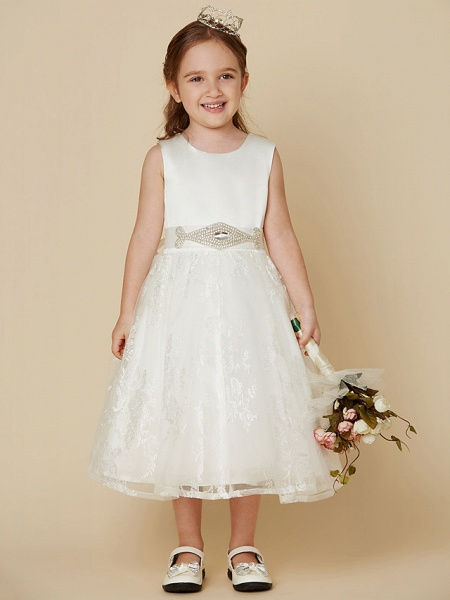 Princess Knee Length Wedding / First Communion Flower Girl Dresses - Lace / Satin Sleeveless Scoop Neck With Sash / Ribbon / Bow(S)_1