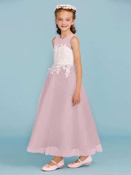 Princess / A-Line Jewel Neck Ankle Length Lace / Tulle Junior Bridesmaid Dress With Sash / Ribbon / Appliques / Wedding Party / Open Back_30