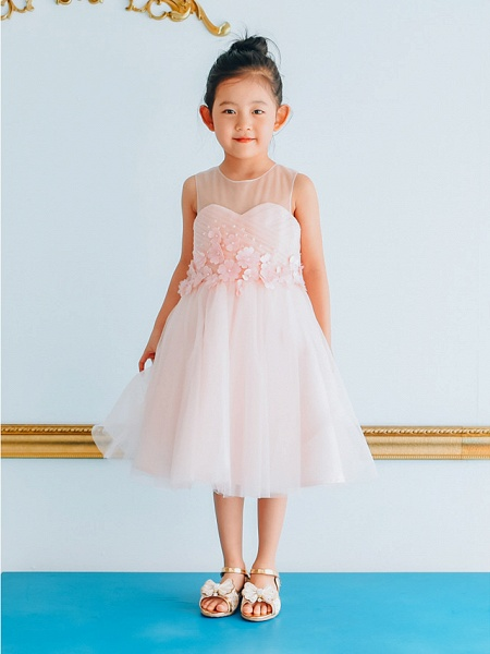 Ball Gown Knee Length Wedding / Birthday / Pageant Flower Girl Dresses - Tulle Sleeveless Jewel Neck With Petal / Pearls_2