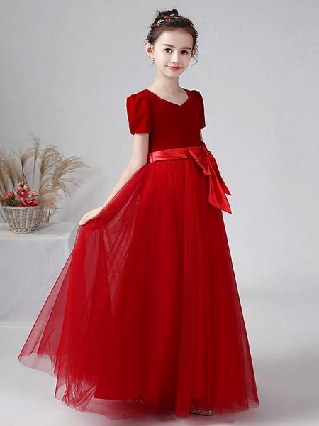 Ball Gown Floor Length Wedding / Party Flower Girl Dresses - Tulle / Velvet Short Sleeve Bateau Neck With Bow(S)_2