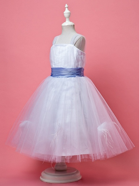 Princess / A-Line Knee Length Tulle Sleeveless Straps With Feathers / Fur / Sash / Ribbon / Ruched_2