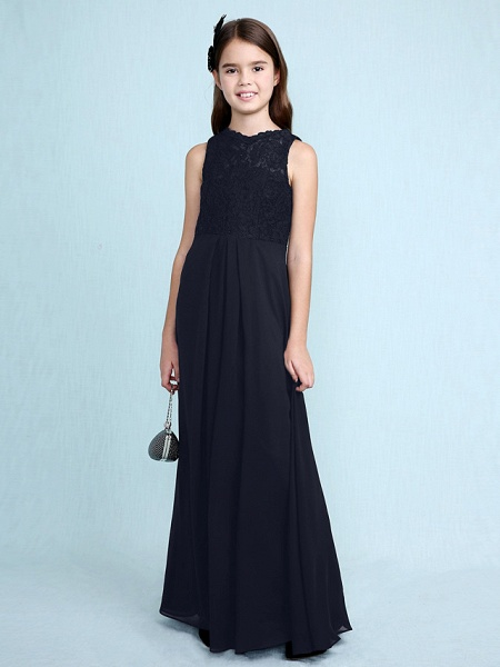 Sheath / Column Scoop Neck Floor Length Chiffon / Lace Junior Bridesmaid Dress With Lace / Natural_39