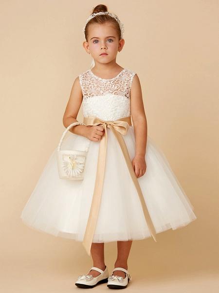 Princess Tea Length Wedding / First Communion Flower Girl Dresses - Lace / Tulle Sleeveless Jewel Neck With Sash / Ribbon / Bow(S)_1