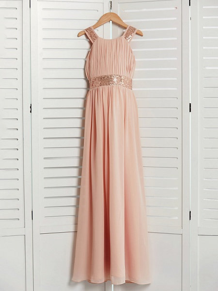 A-Line Jewel Neck Maxi Chiffon Junior Bridesmaid Dress With Lace / Sash / Ribbon_3