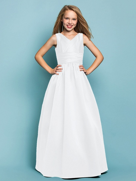 Princess / A-Line V Neck Floor Length Satin Junior Bridesmaid Dress With Sash / Ribbon / Criss Cross / Spring / Summer / Fall / Apple / Hourglass_18