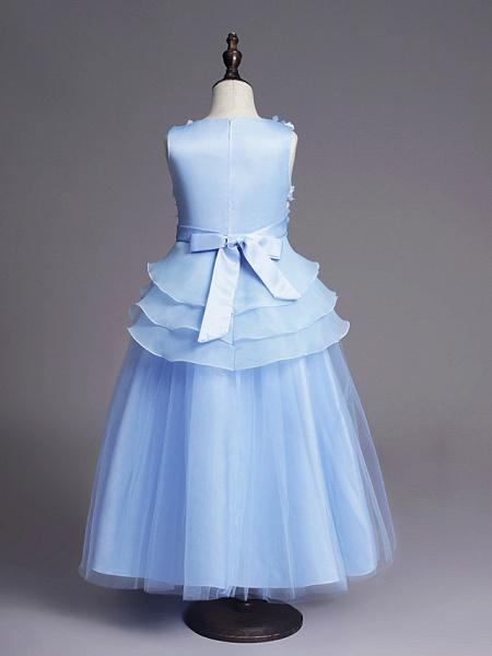 Princess Long Length Wedding / First Communion Flower Girl Dresses - Satin / Tulle Sleeveless Jewel Neck With Belt / Beading / Embroidery_5