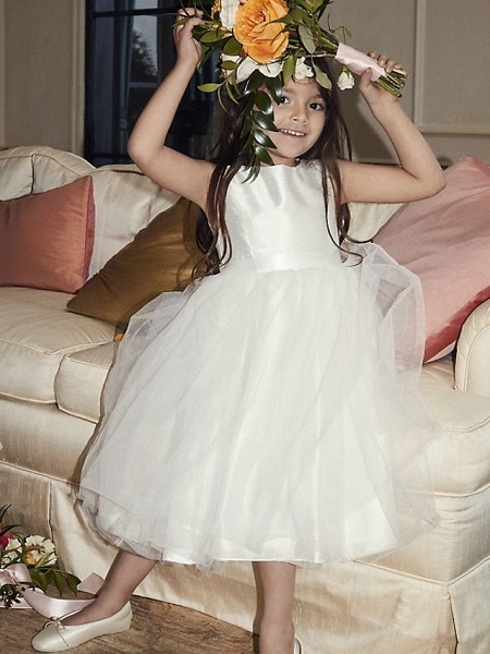 A-Line Ankle Length Wedding Flower Girl Dresses - Tulle Sleeveless Jewel Neck With Beading / Solid_4