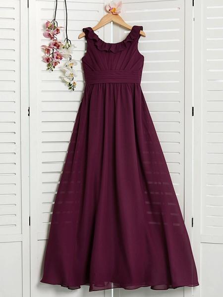 A-Line Jewel Neck Floor Length Chiffon Junior Bridesmaid Dress With Ruffles / Ruching_3