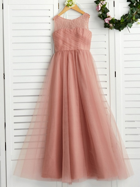 A-Line Crew Neck Maxi Lace / Tulle Junior Bridesmaid Dress With Lace / Pleats_4