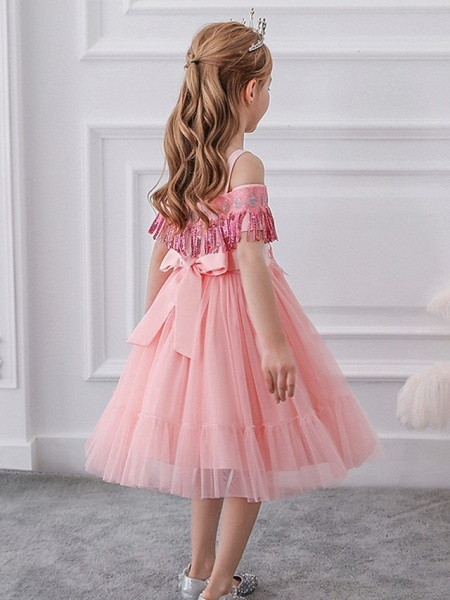 Princess / Ball Gown Knee Length Wedding / Party Flower Girl Dresses - Tulle Short Sleeve Off Shoulder With Bow(S) / Pleats / Beading_2
