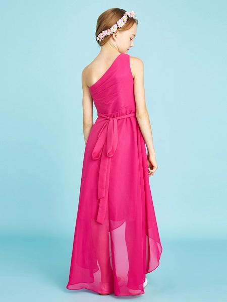 A-Line One Shoulder Asymmetrical Chiffon Junior Bridesmaid Dress With Sash / Ribbon / Bow(S) / Side Draping / Natural_2